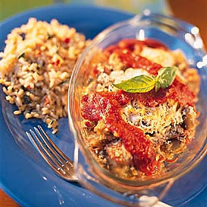 Baked Eggplant with Garden Vegetable Rice