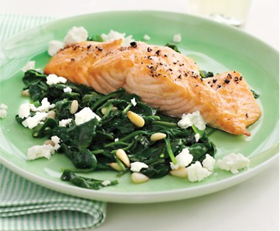 Broiled Salmon with Spinach and Feta