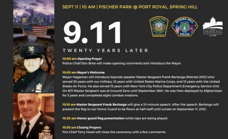 Spring Hill 9/11 Memorial Service at Fischer Park on Saturday